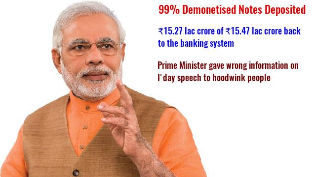 Demonetisation failed as 99% notes return