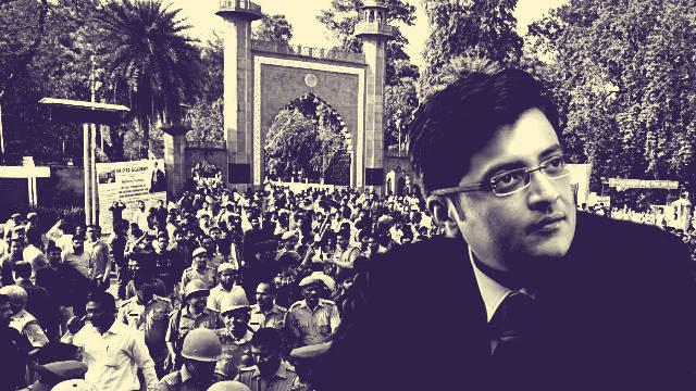 Aligarh Muslim University students protest against the Republic TV's vitriol against the institution