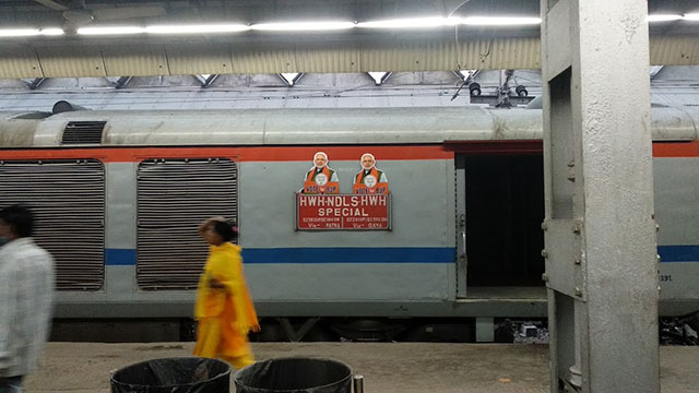 Indian Railways' displaying BJP's election poster