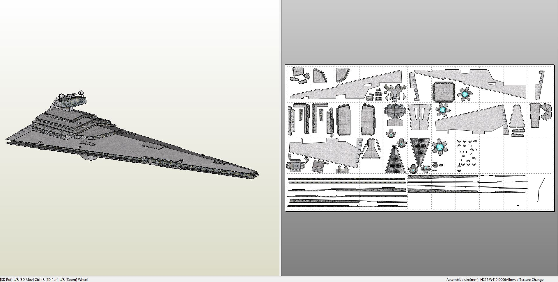 papercraft pdo file template for star wars imperial star destroyer. Black Bedroom Furniture Sets. Home Design Ideas