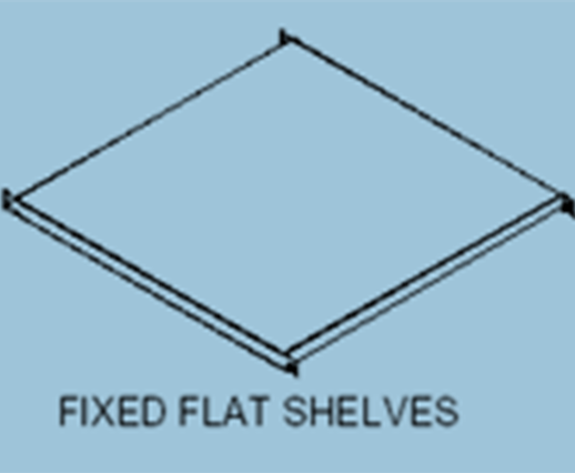 fixed flat shelves