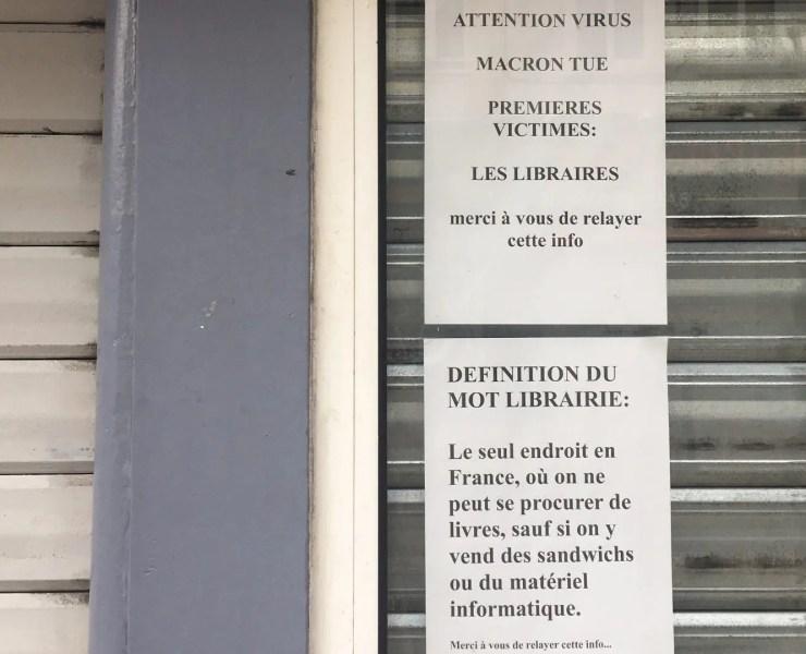 librairies fermées confinement reconfinement