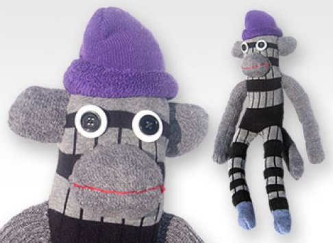 Grey & Black Stripe One-of-a-Kind UPcycled Sock Monkey | © Pepe & Sherina Designs™