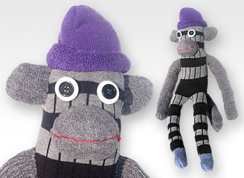 Grey & Black Stripe One-of-a-Kind UPcycled Sock Monkey | © Pepe & Sherina Designs™