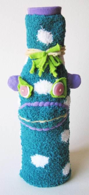 UPcycled Sock Monkey Wine Bottle Cover | © Pepe & Sherina Designs™
