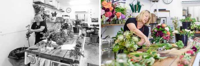 Fiona from Flowersmith Flowers at work in her studio preparing florals for Pepperberry Photography's styled shoot.