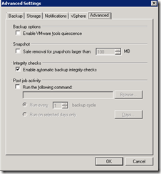 Veeam back-up wizard advanced settings 5