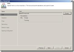 Veeam Virtual Lab Host section