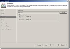 Veeam Virtual Lab datastore section