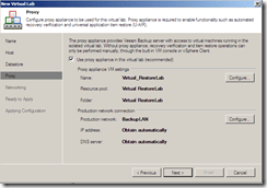 Veeam Virtual Lab network section