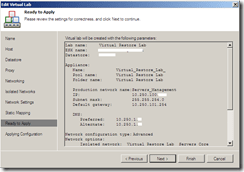 Veeam Virtual Lab overview section