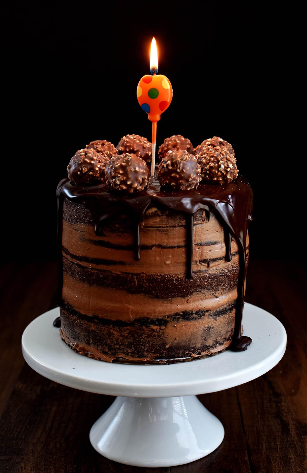 Chocolate Hazelnut Semi Naked Cake With Dark Chocolate