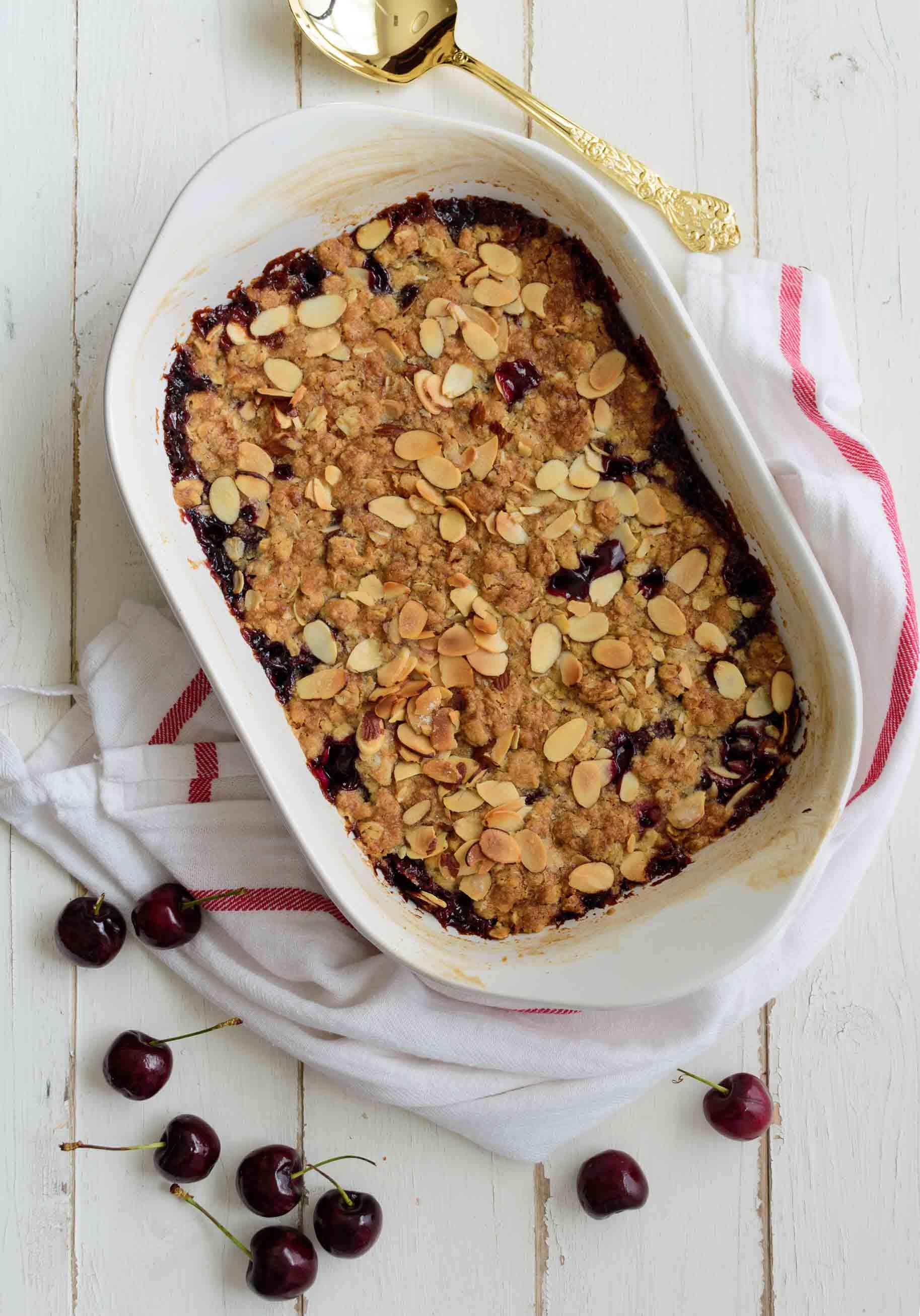 Cherry Almond Crumble - Pepper Delight #pepperdelightblog #recipe #cherry #crumble #crisp #cobbler #celebration #christmas #dessert #summer #fall #party #holidayrecipes #summerdesserts