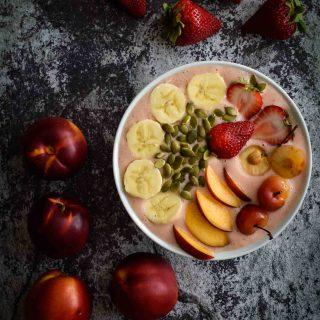 Strawberry Peach Yogurt Bowl
