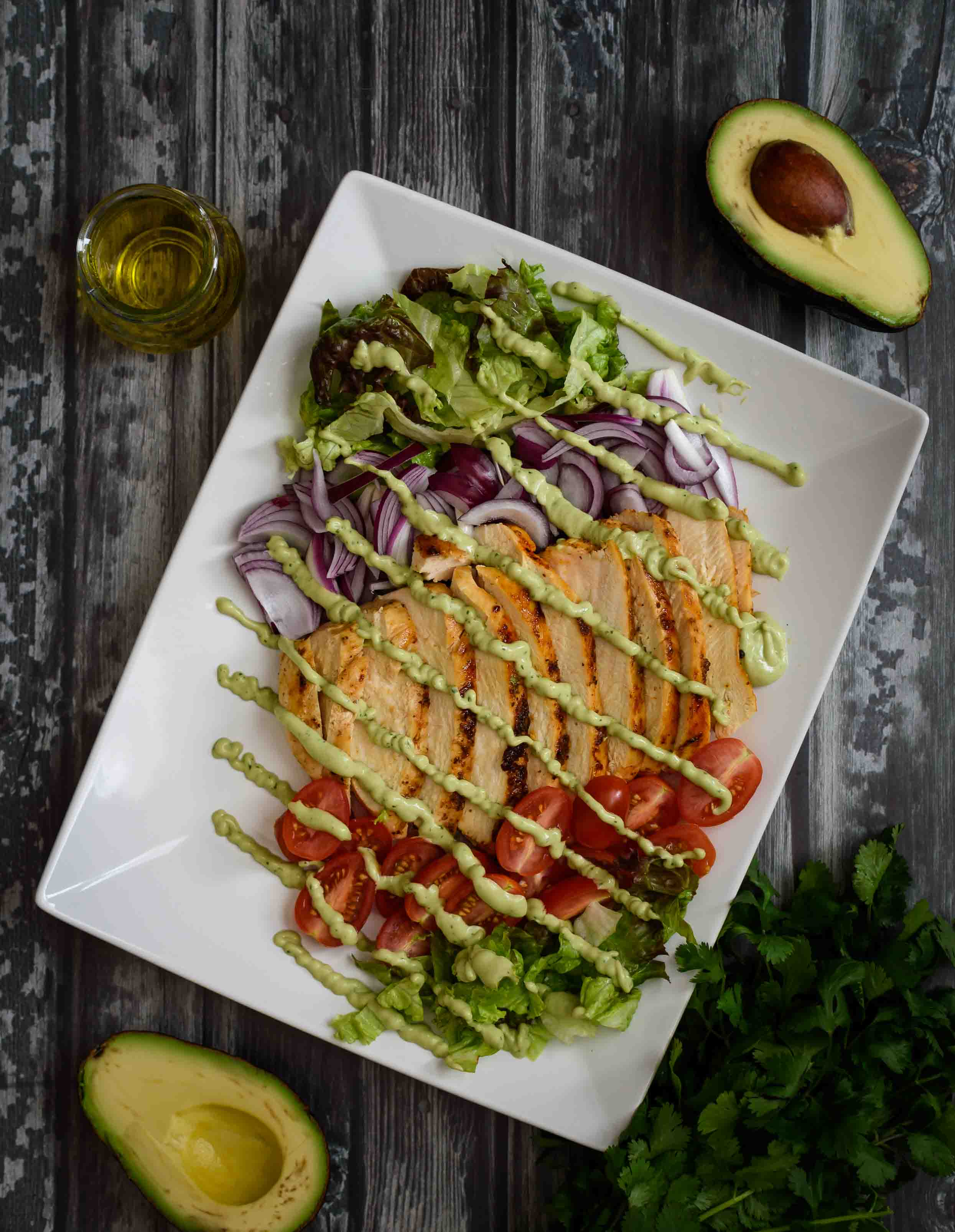 Pan Seared Chicken Salad with Creamy Avocado Dressing- Pepper Delight #pepperdelightblog #recipe #salad #chickensalad #summersalad #healthy #cleaneating #dinner #lunch #july4threcipes #avocadodressing