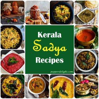 A collage of Kerala Sadya Recipes