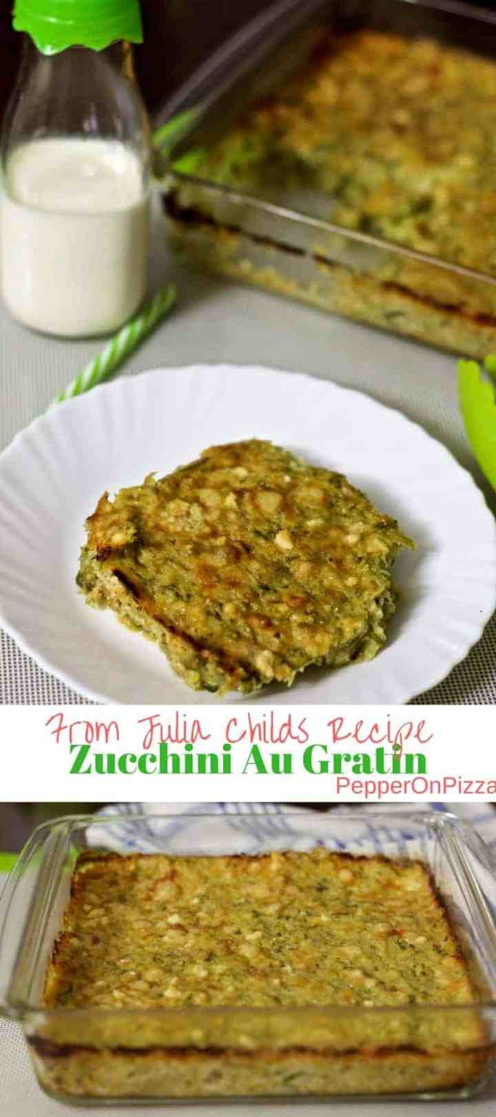 Delicious Zucchini au gratin -Green zucchini grated and tossed in a buttery creamy veloute sauce and baked with Parmesan cheese