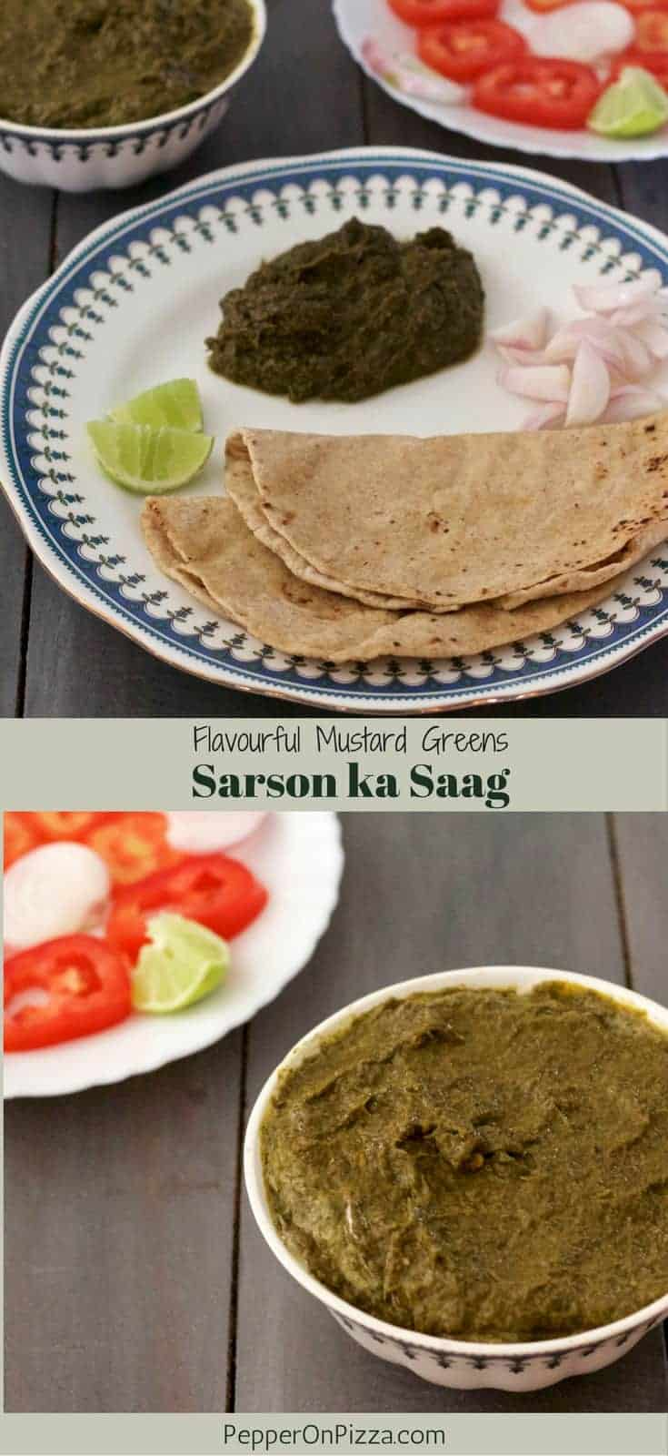 Nutritious cancer fighting Sarson ka Saag, the ultimate winter classic from Punjab. Delicious Mustard greens curry served with Makki Roti