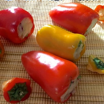 Capsicum being prepared for stuffing