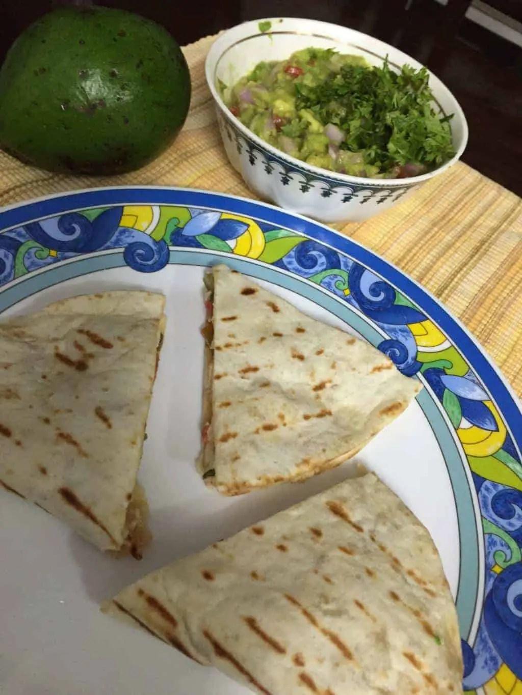 Paneer Quesadilla with homemade Guacamole