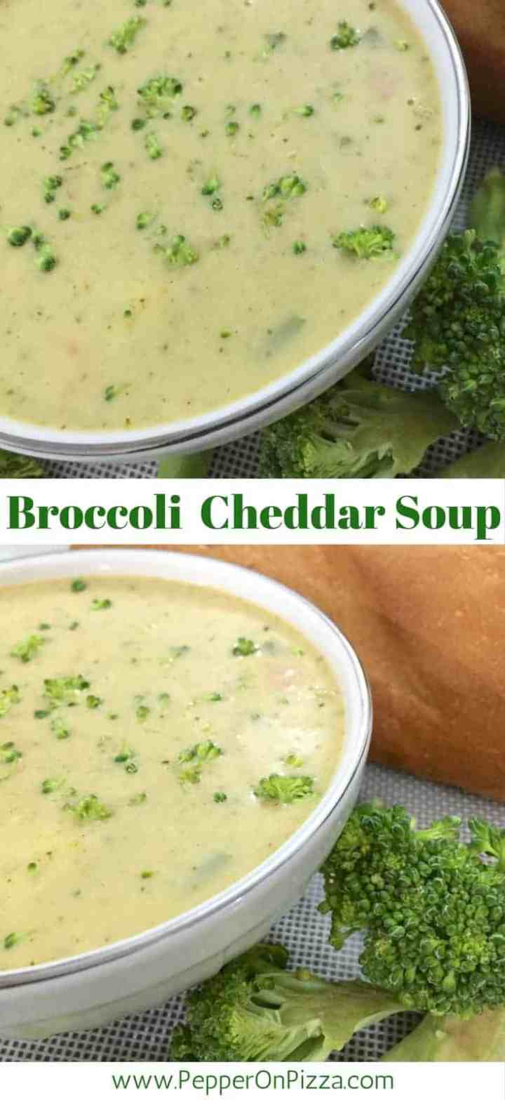 Broccoli Cheddar Soup of fresh broccoli with sharp cheddar cheese, pepper, a hint of spices, basil, thyme, sage & garnish of mint leaves.