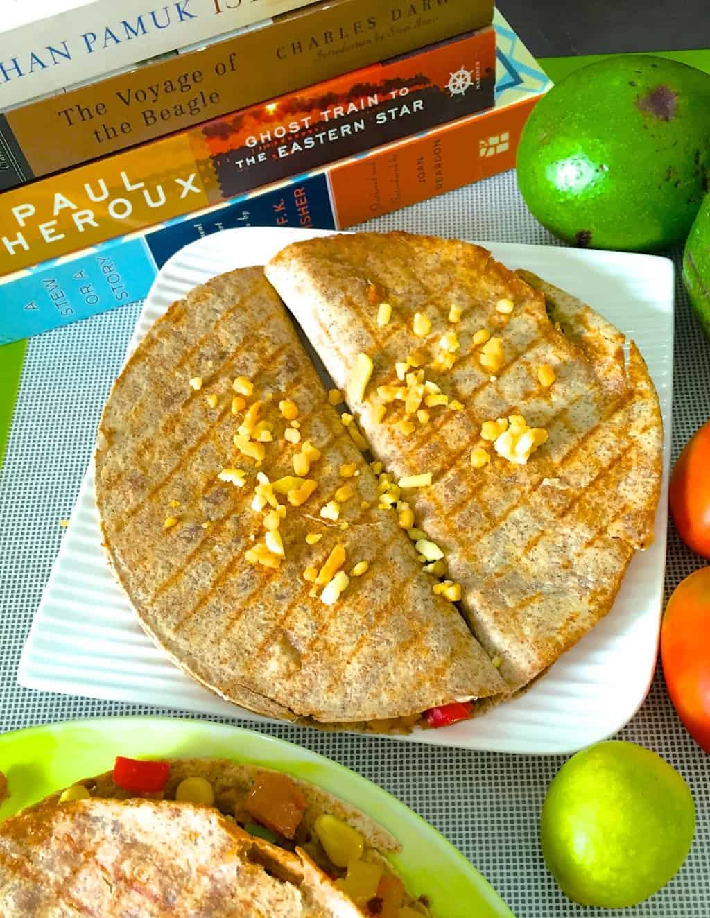 Healthy Herby Wheat Quesadilla with Red Pesto & Edamame