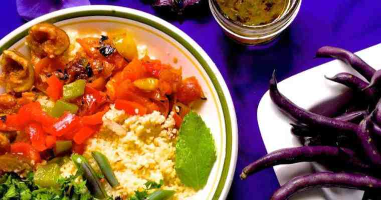 Couscous Salad with Beans, Tomatoes, Figs in a Lemon dressing