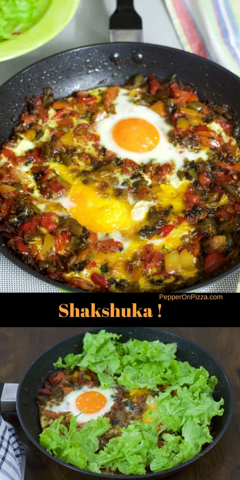 Shakshuka, a Tunisian dish Poached eggs in peppers, tomato, saffron, paprika & herbs which are integral to the dish from Ottolenghi's recipe