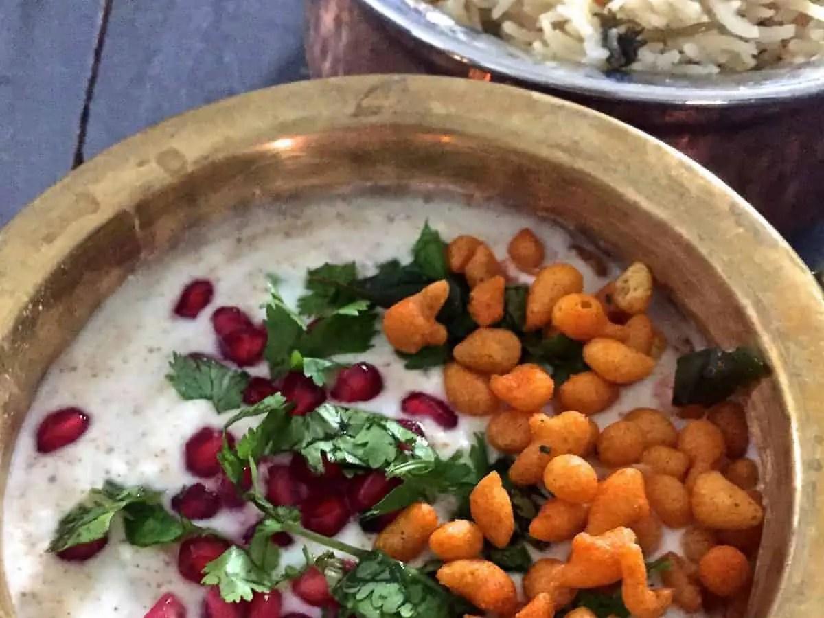 Boondi Raita – Yogurt spiced with Black salt & chickpea flour droplets