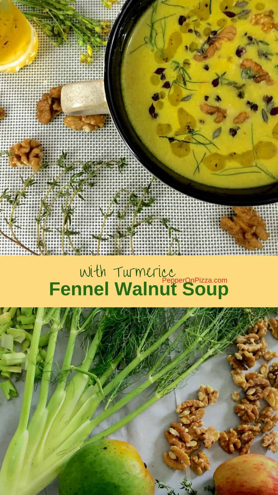 Healthy Turmeric Walnuts Fennel Soup. Creamy comforting soup garnished with edible Basil flowers, honey and toasted walnuts.