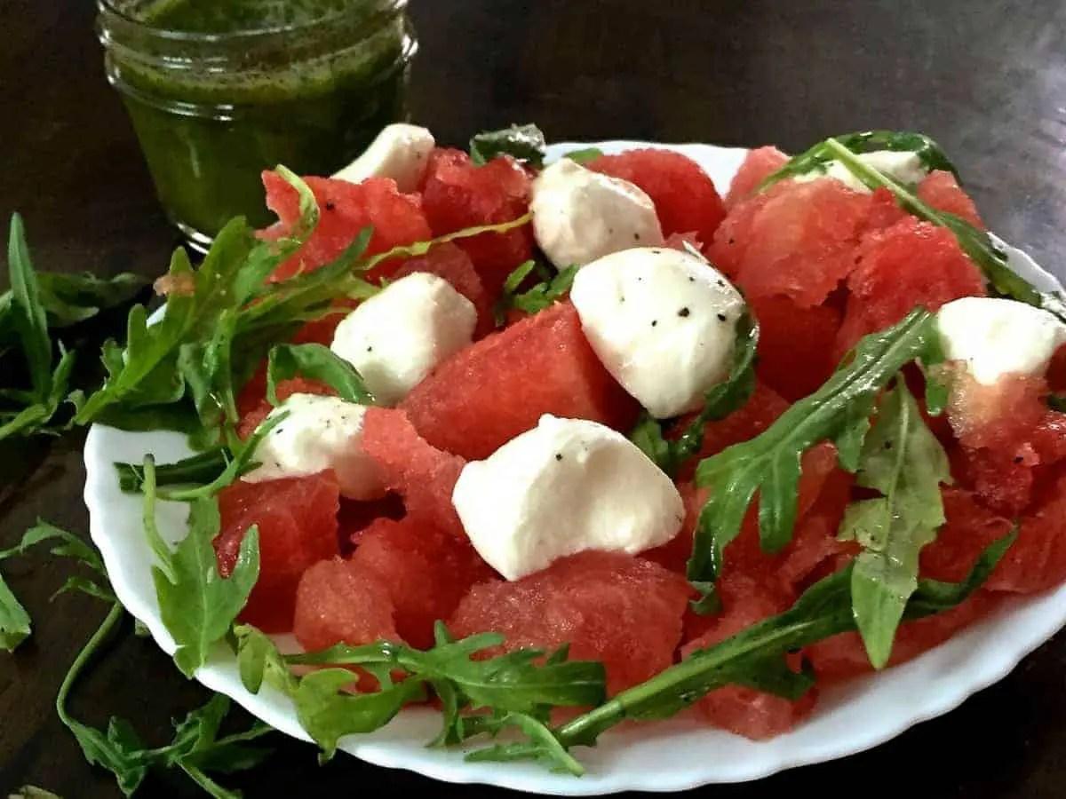 Watermelon Bocconcini Arugula Salad with Homemade Basil Oil