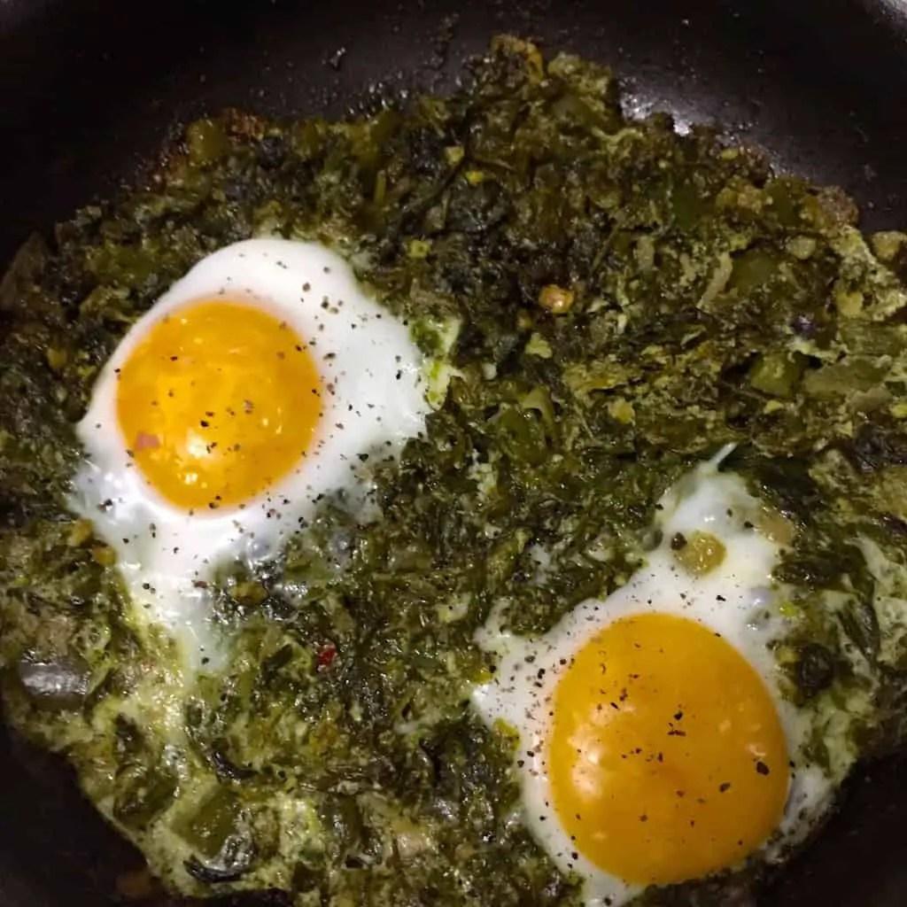 Green Shakshuka with Kale & a Parsley Pesto