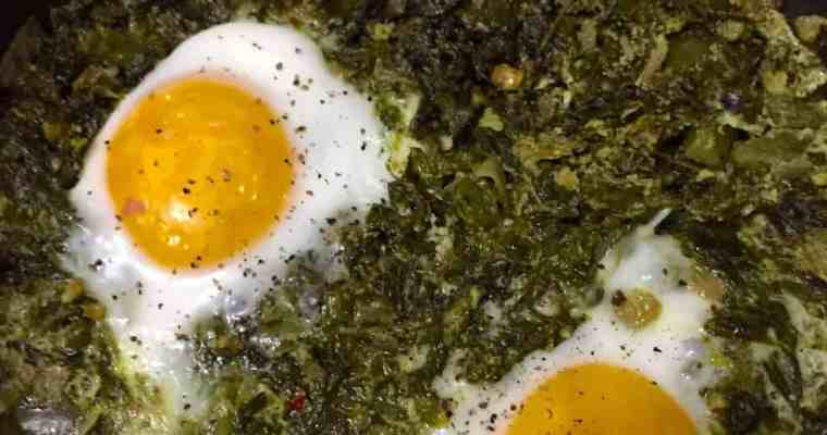 Green Shakshuka with Kale & a Parsley Pesto