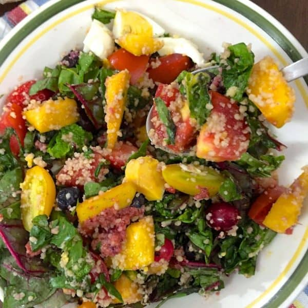 Dandelion Greens Salad with Couscous and Mango