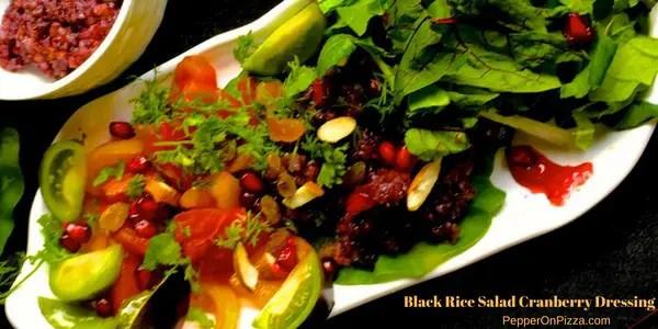 Black Rice Salad, Cranberry Orange Dressing
