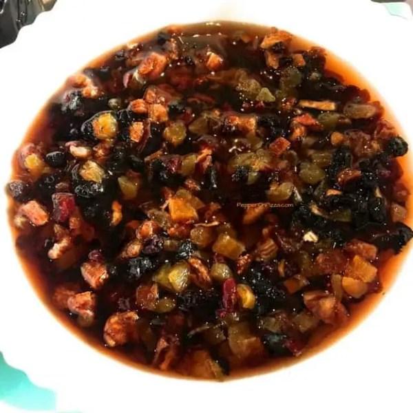Soak fruits for Christmas cake-liquid to cover the fruits-PepperOnPizza.com