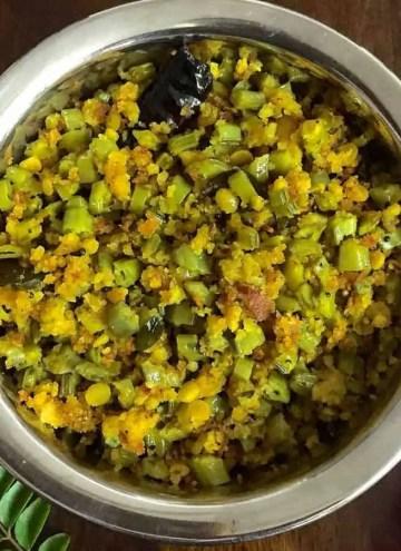 Cluster Beans Paruppu Usili_PepperOnPizza.com