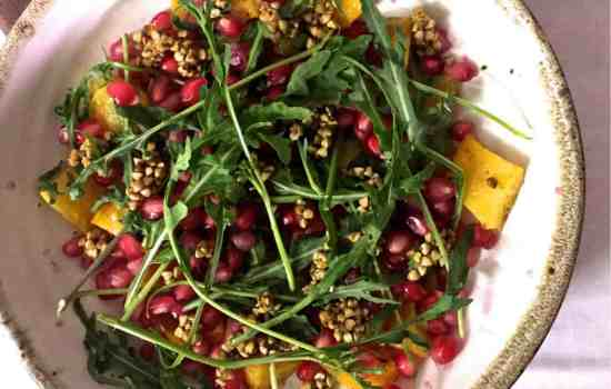 Roasted Pumpkin Labneh Buckwheat Salad with Pomegranate and Rocket