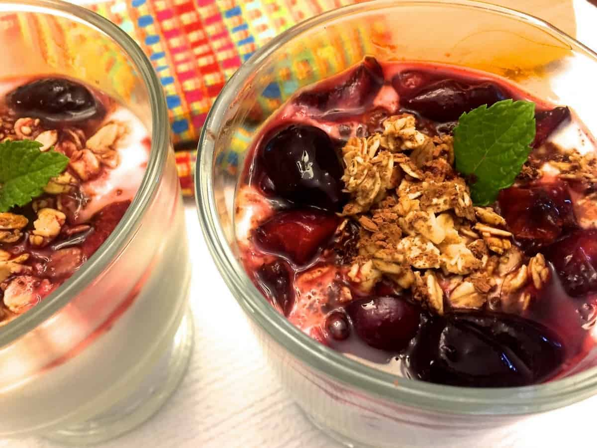 Cherry Compote Yogurt Parfait with Granola