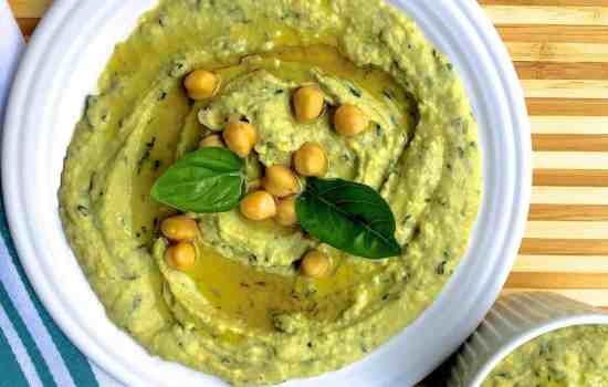 Simple Fresh Lemon Mint Basil Hummus Dip