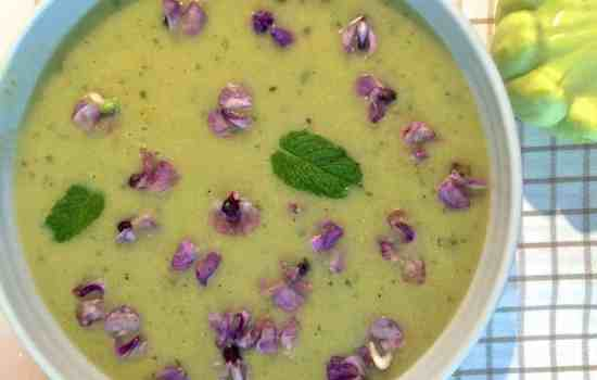 Patty Pan Squash Mint Soup with Orange and Hyacinth