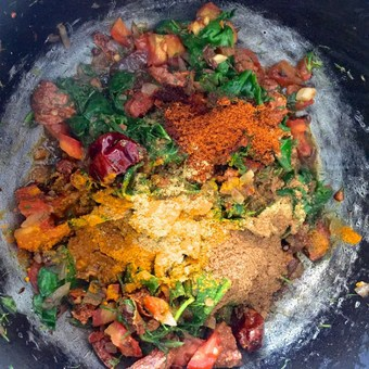 Add the masala powders - turmeric, chilli powder, hing, one by one