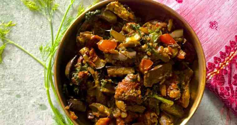 Baingan Badi Sabzi – Curried Aubergine with Black Gram  Fritters