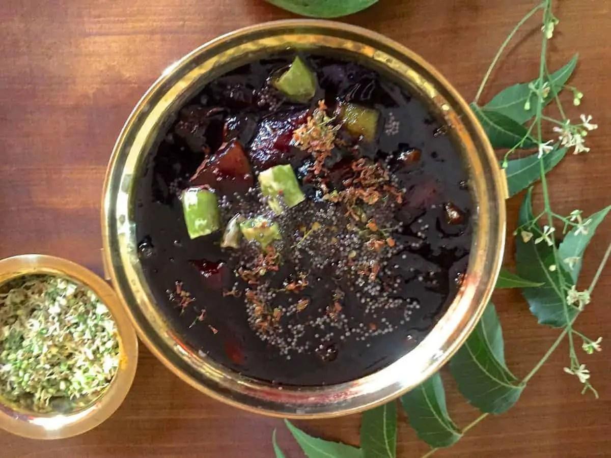 Raw Mango Pachadi with Neem Flowers – Mangai Vepampoo Pachadi