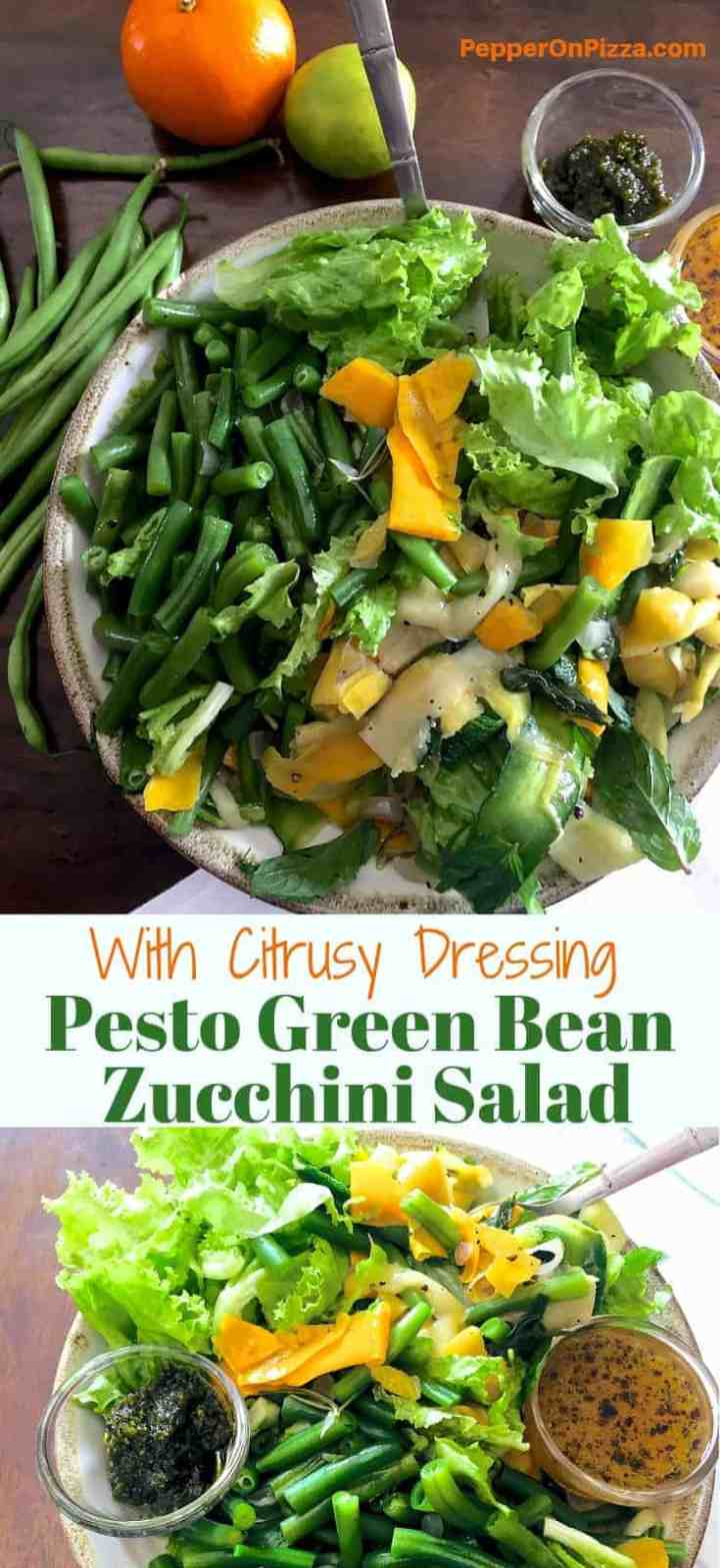 Pesto Green Bean Ribboned Zucchini Salad - an easy and tasty lunch with the basil pistachio nuts pesto and the lemony orange dressing adding flavour to the blanched beans, herbed and buttered zucchini ribbons and fresh salad greens