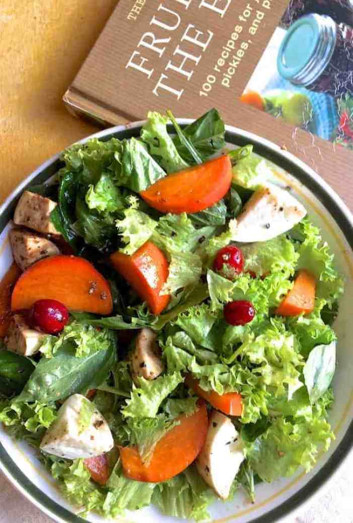 Large plate of slices of orange persimmon tossed with greens, white fresh mozzarella and cranberries