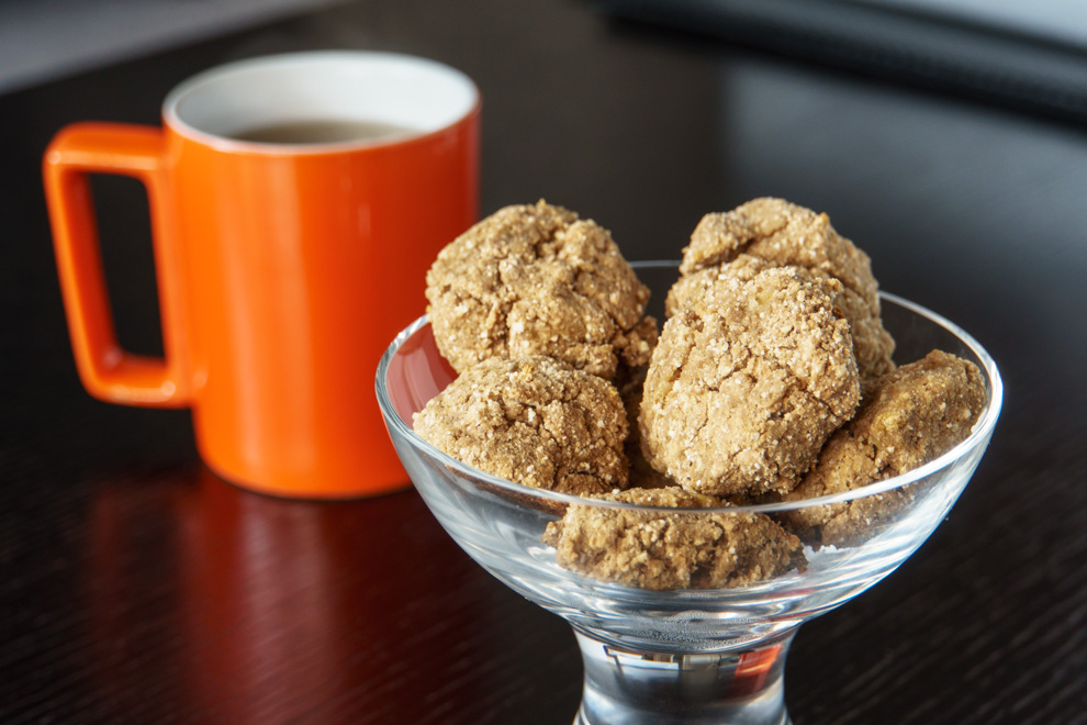 Chocolate Protein Cookies - in clear bowl with tea