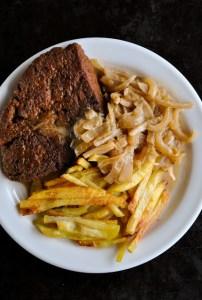 Homemade vegan seitan steak