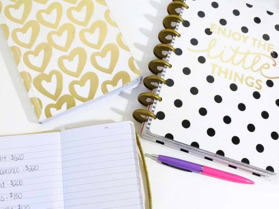 Creative closed notebooks on a table showing their front cover designs of hearts and dots