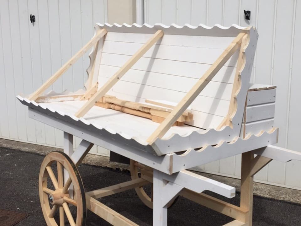 In the process of building and painting our candy cart - here it is with the roof off